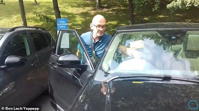 Daniel Ingman left his black Land Rover in the car park of Leeds General Infirmary while he visited his son Percy - displaying an application for a parking permit on his dashboard